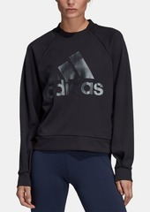 adidas Shine Logo Zipper-Back Logo Sweatshirt