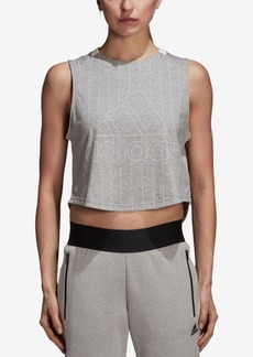 adidas Sport Id Cotton Tonal-Stripe Cropped Tank Top
