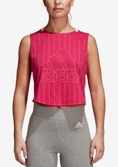 adidas Sport Id Cotton Tonal-Stripe Cropped Tank Top