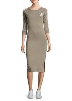 Adidas Stripe-Accented Knit Midi Dress