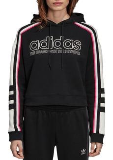 Adidas Striped Cropped Hooded Sweatshirt