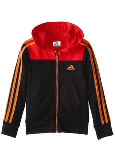 adidas Little Boys' Toddler Warm up Fleece Hooded Jacket Black/Red