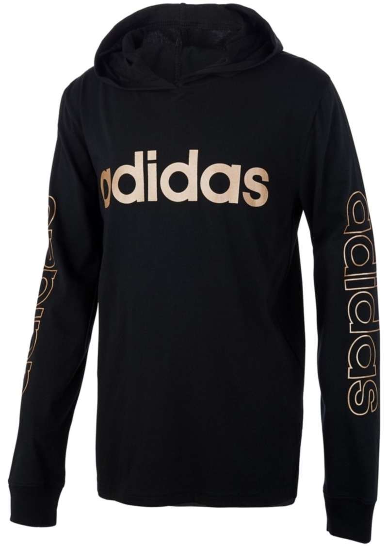 adidas Little Boys Cotton Logo-Print Hooded T-Shirt