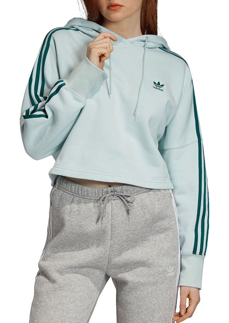 Adidas Triple Stripe Cropped Hooded Sweatshirt