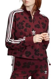 Adidas Triple Stripe Floral Half-Zip Sweatshirt