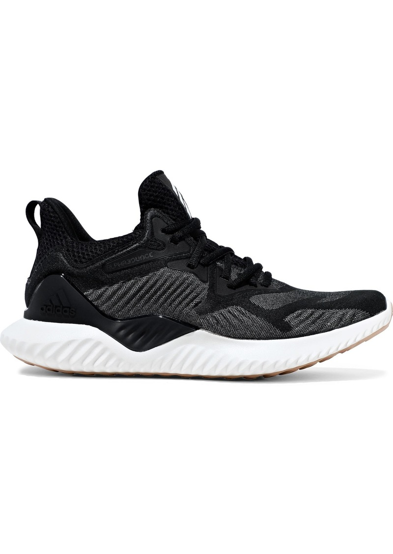 Adidas Woman Alphabounce Beyond Mesh-paneled Stretch-knit Sneakers Black