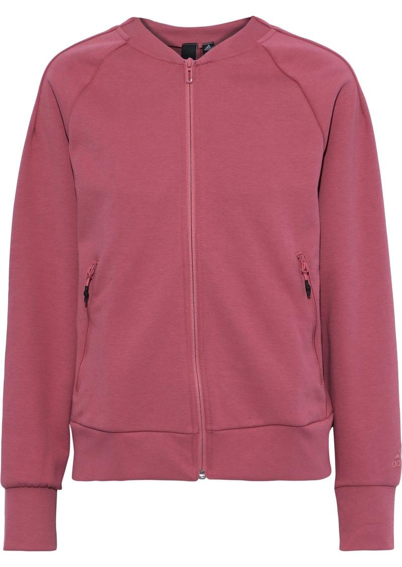 Adidas Woman Appliquéd Jersey Track Jacket Bubblegum