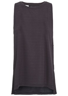Adidas Woman Chill Cutout Striped Stretch-mesh Tank Charcoal