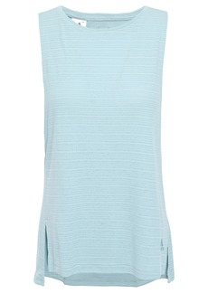 Adidas Woman Climachill Cutout Striped Stretch-jersey Tank Sky Blue