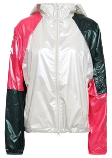 Adidas Woman Color-block Glossed-shell Hooded Jacket Multicolor