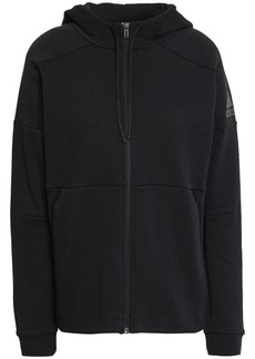 Adidas Woman Cotton-blend Jersey Hoodie Black