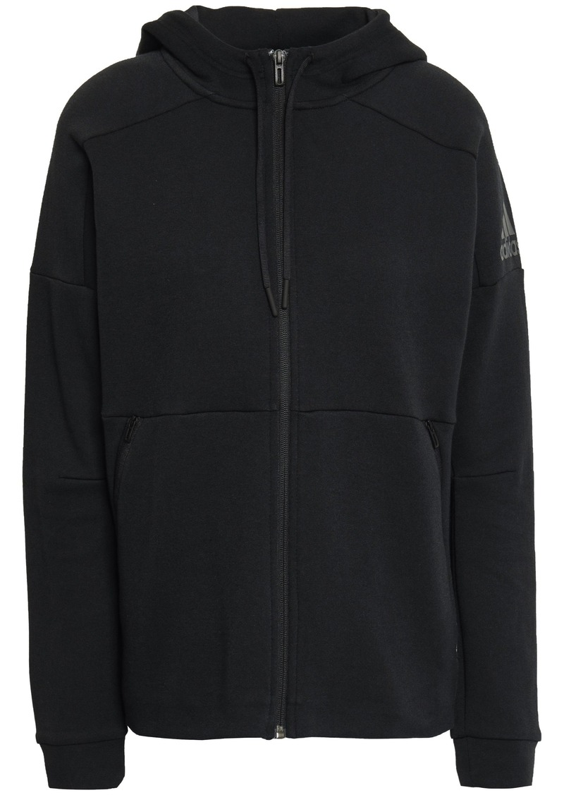 Adidas Woman Cotton-blend Jersey Hoodie Black