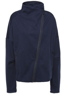 Adidas Woman Cotton-blend Jersey Track Jacket Navy