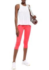 Adidas Woman Cropped Mesh-paneled Leggings Bright Pink
