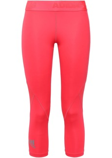 Adidas Woman Cropped Mesh-paneled Leggings Bright Pink