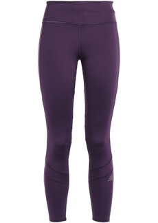 Adidas Woman Cropped Mesh-paneled Stretch Leggings Violet