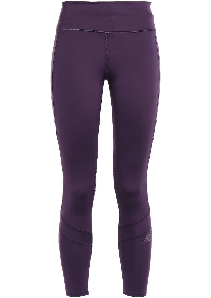 Adidas Woman Cropped Mesh-paneled Stretch Leggings Violet