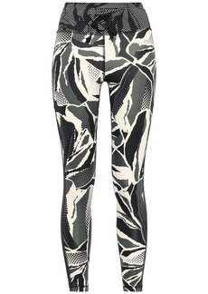 Adidas Woman Cropped Mesh-trimmed Printed Stretch Leggings Black