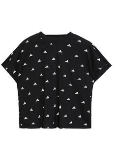 Adidas Woman Cropped Printed Cotton-jersey T-shirt Black