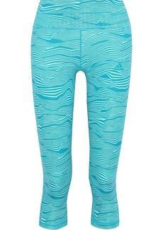 Adidas Woman Cropped Printed Stretch Leggings Jade