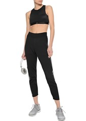 Adidas Woman Cropped Striped Mesh Track Pants Black