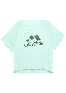 Adidas Woman Cutout Printed Slub Jersey T-shirt Mint