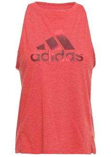 Adidas Woman Cutout Printed Stretch-jersey Tank Papaya