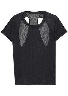 Adidas Woman Cutout Slub Jersey T-shirt Black