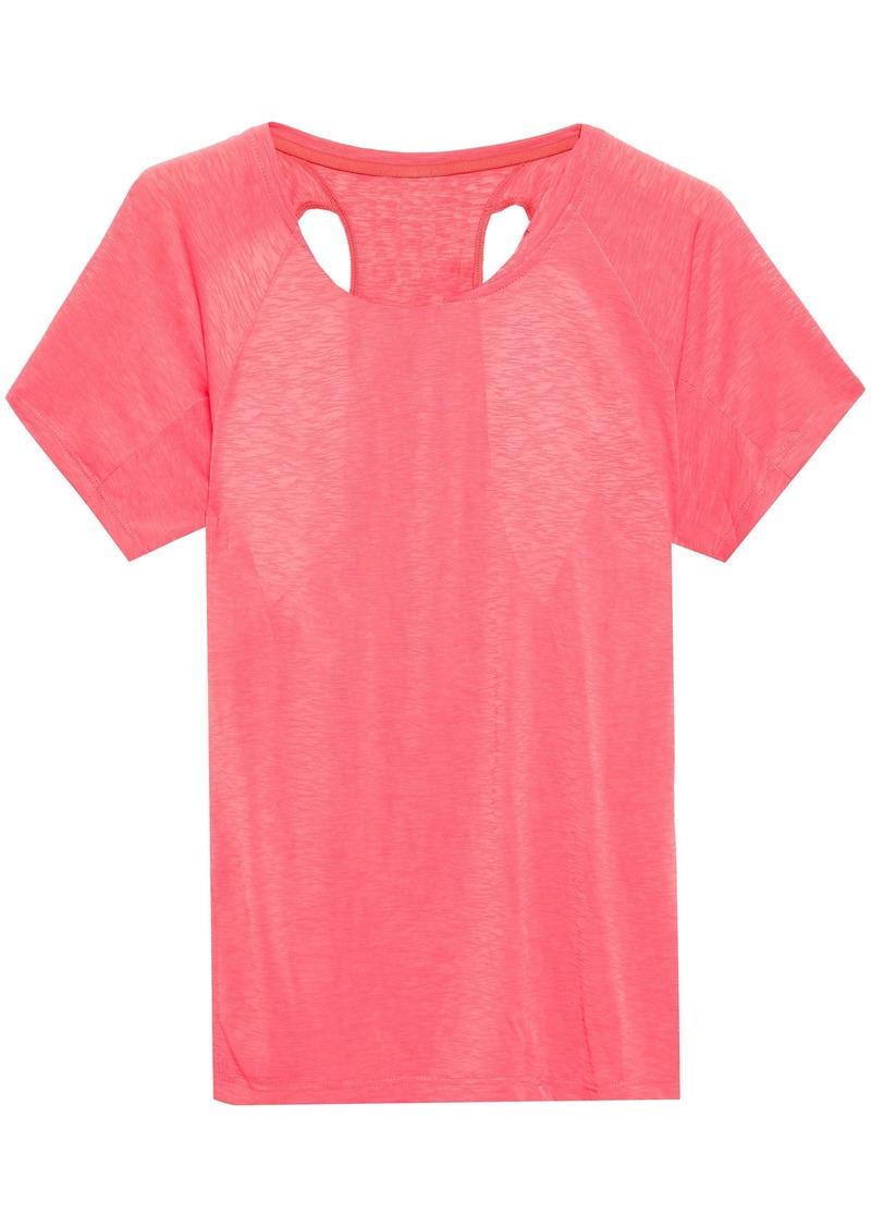 Adidas Woman Cutout Slub Jersey T-shirt Coral