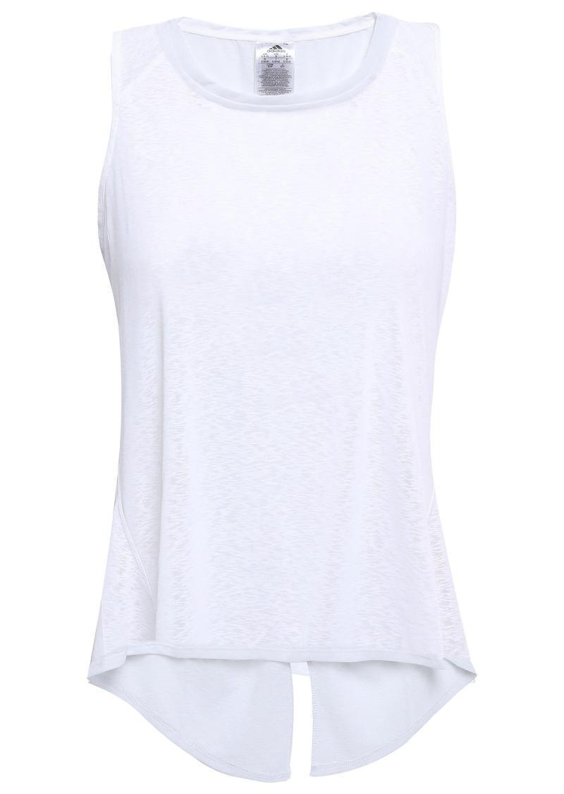 Adidas Woman Split-back Slub Jersey Tank White