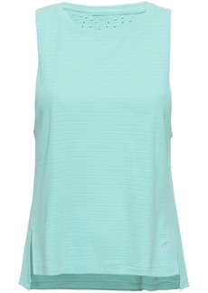 Adidas Woman Cutout Textured Tech-jersey Tank Mint