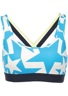 Adidas Woman Don't Rest Iteration Cutout Printed Stretch Sports Bra Azure