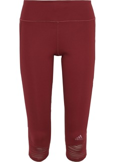 Adidas Woman How We Do Cropped Mesh-trimmed Stretch Leggings Brick
