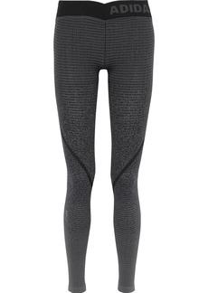 Adidas Woman Jacquard-knit Leggings Dark Gray