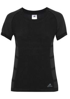 Adidas Woman Striped Tech-jersey T-shirt Black