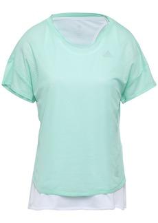 Adidas Woman Layered Jersey And Mesh T-shirt White