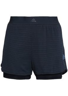 Adidas Woman Layered Striped Tech-jersey Shorts Charcoal
