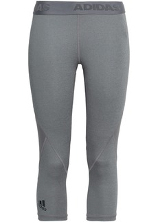 Adidas Woman Cropped Mesh-paneled Stretch Leggings Gray