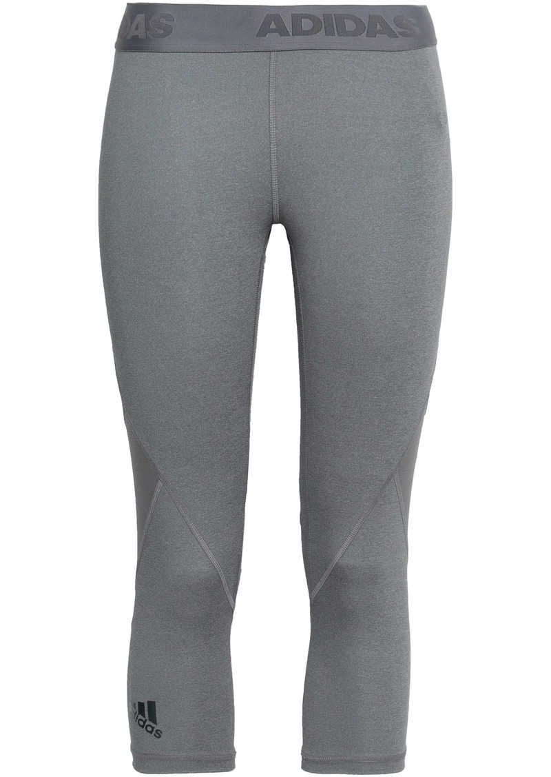 Adidas Woman Cropped Mesh-paneled Stretch Leggings Gray