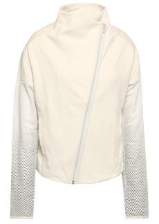 Adidas Woman Mesh-paneled Jersey Track Jacket Off-white