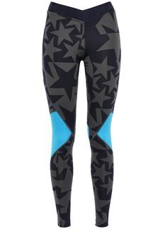 Adidas Woman Mesh-paneled Printed Stretch Leggings Navy