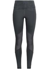 Adidas Woman Mesh-paneled Stretch-jersey Leggings Dark Gray