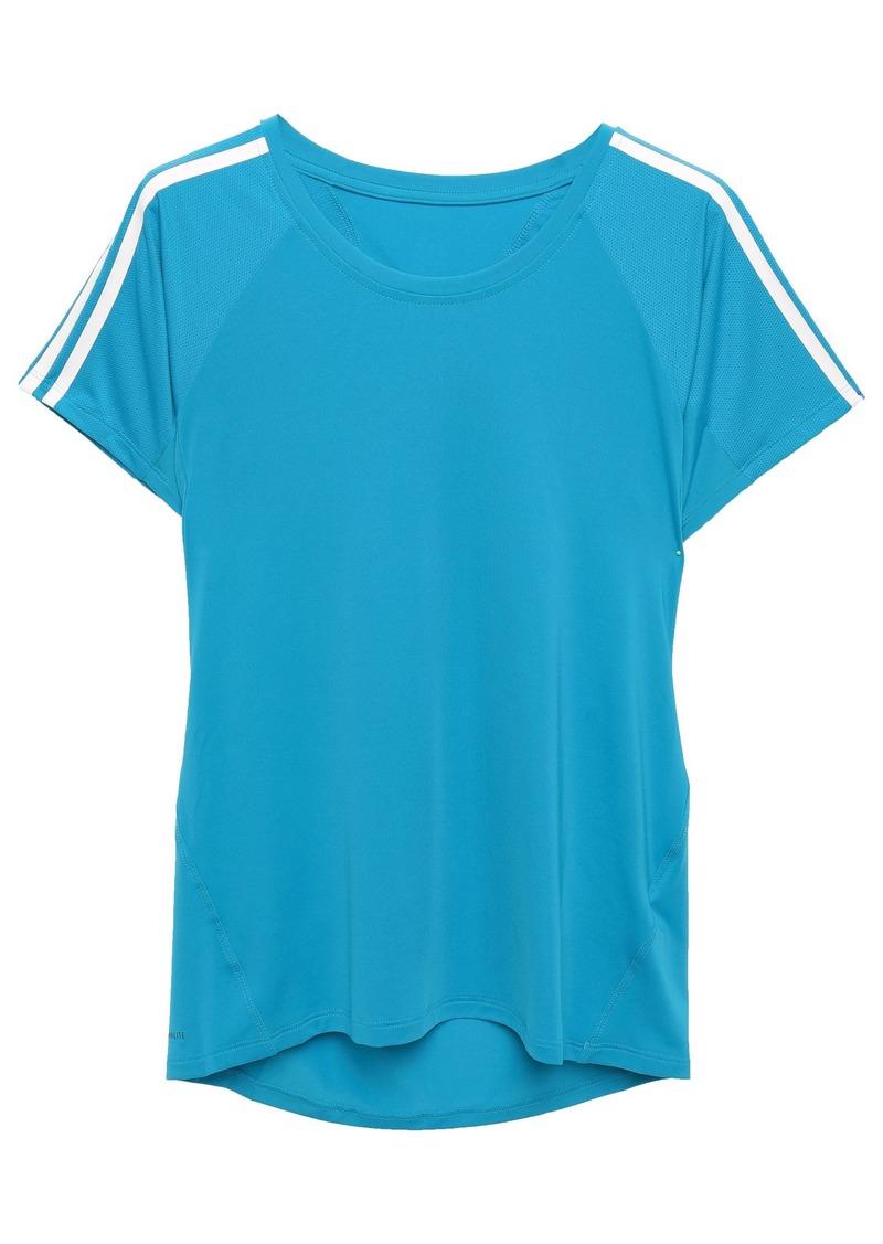 Adidas Woman Mesh-paneled Stretch-jersey T-shirt Azure