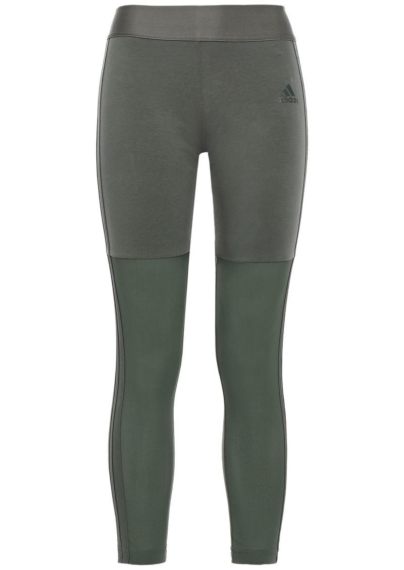 Adidas Woman Mesh-paneled Striped Stretch-cotton Jersey Leggings Army Green