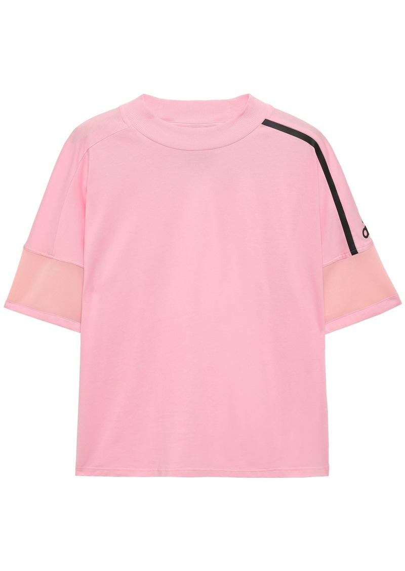 Adidas Woman Mesh-trimmed Cotton-jersey T-shirt Baby Pink