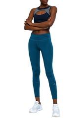 Adidas Woman Mesh-trimmed Stretch Leggings Petrol