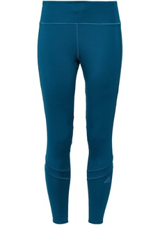 Adidas Woman Mesh-trimmed Stretch Leggings Petrol