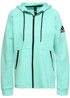 Adidas Woman Mélange Cotton-blend Jersey Hoodie Mint