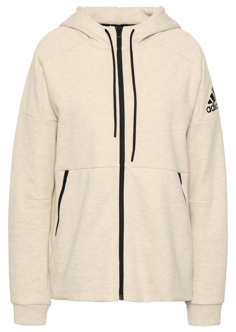 Adidas Woman Mélange Cotton-blend Jersey Hoodie Cream