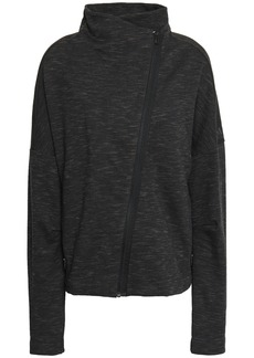 Adidas Woman Mélange Cotton-blend Jersey Track Jacket Charcoal